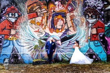 Hochzeitsfotografie, Grffitiwandfoto